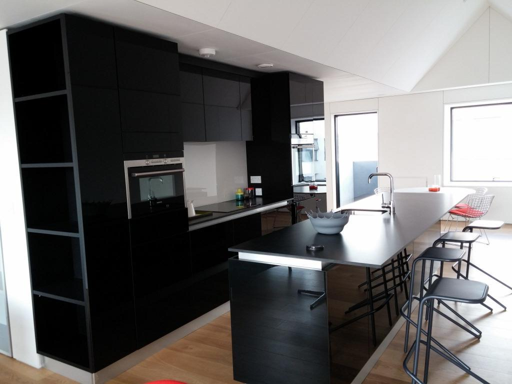 Modern kitchen High gloss black
