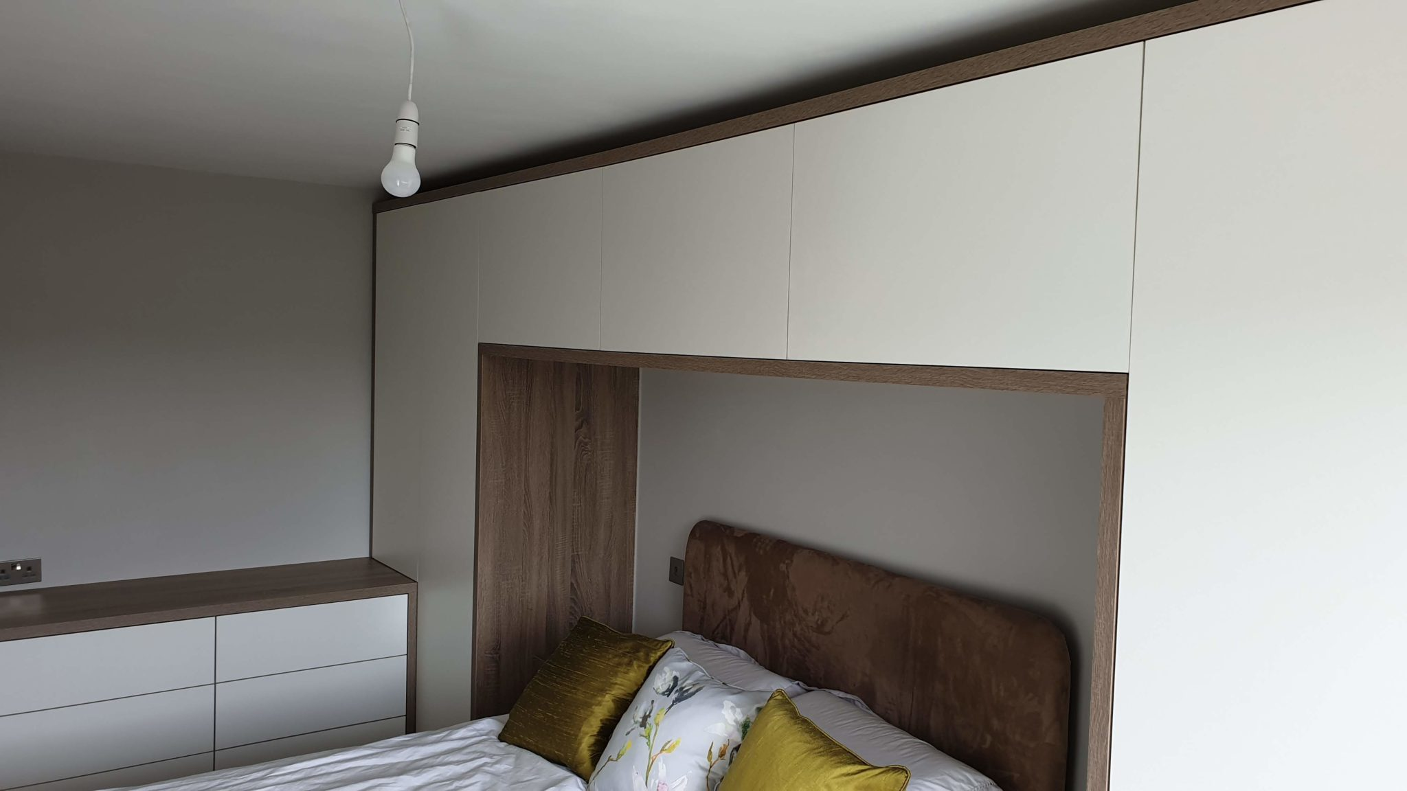 Scandinavian style white bespoke bedroom furniture made for our customer from South Yorkshire.