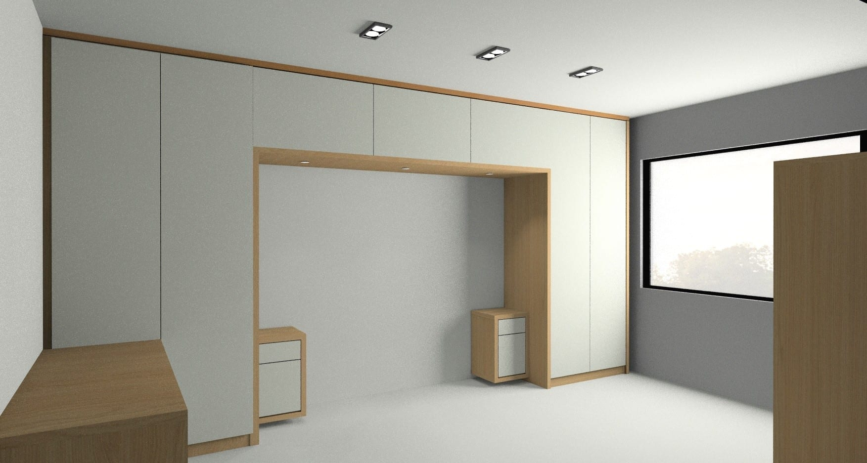 Rendered image which was part of the bespoke modern style bedroom furniture.