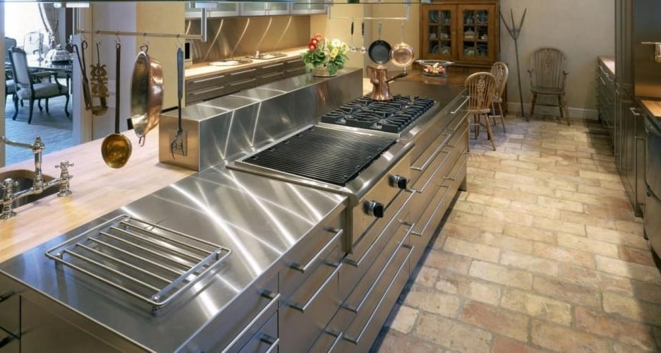 Stainles steel kitchen worktop