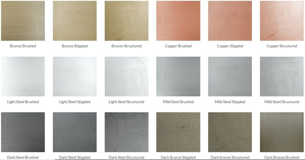 Colour range of metallic coated premium kitchens