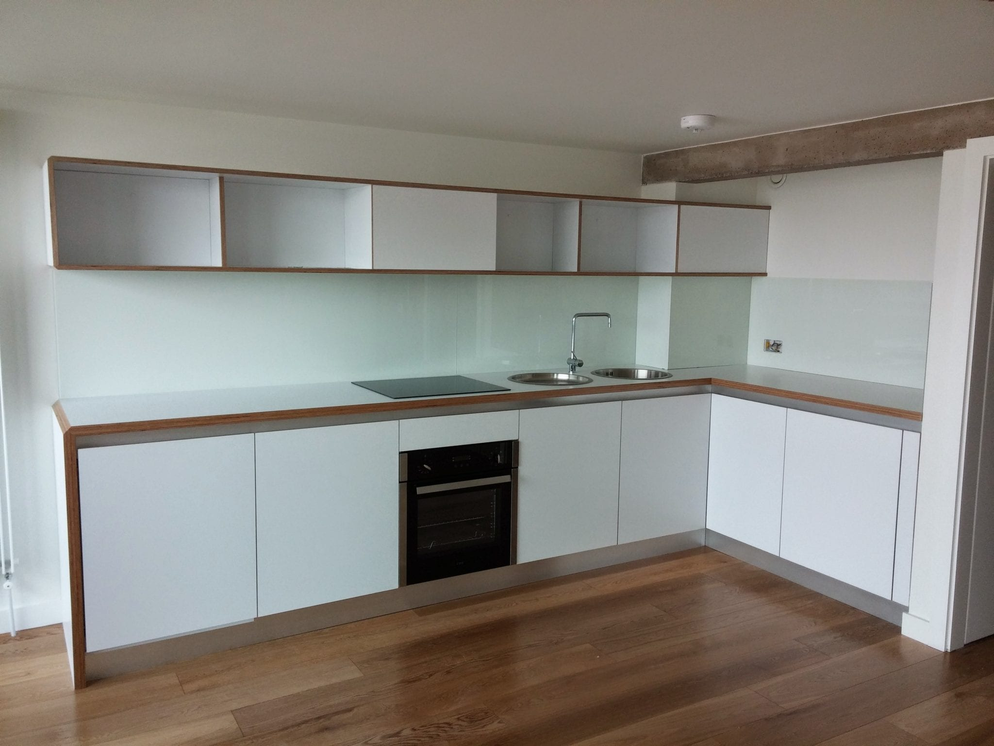 White Matt Plywood handleles kitchens
