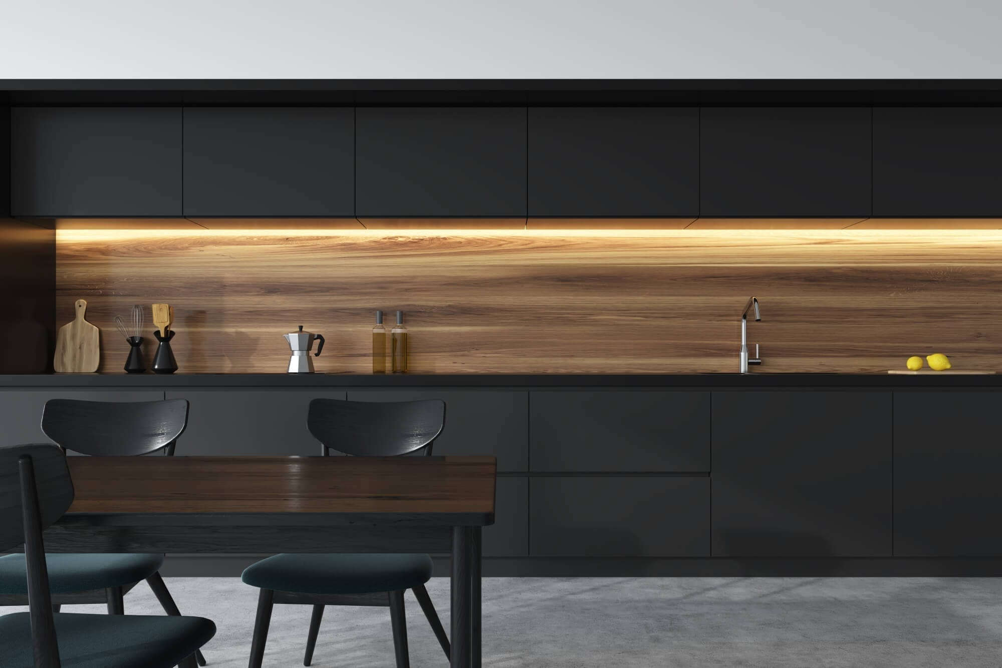 Fenix NTM dark modern kitchen