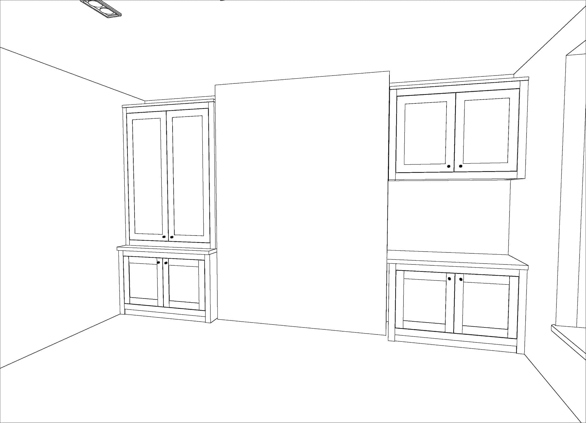 Alcove cabinet drawing