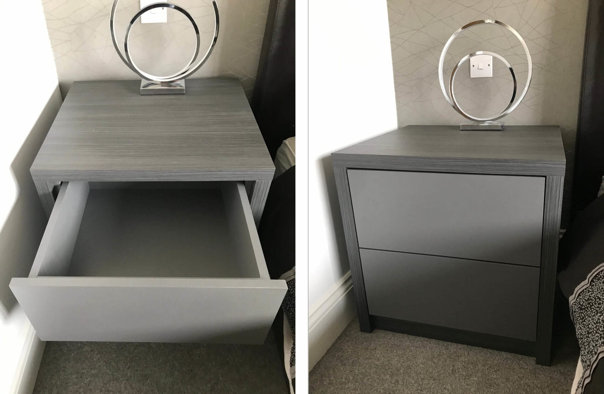 Handle less side bed cabinet
